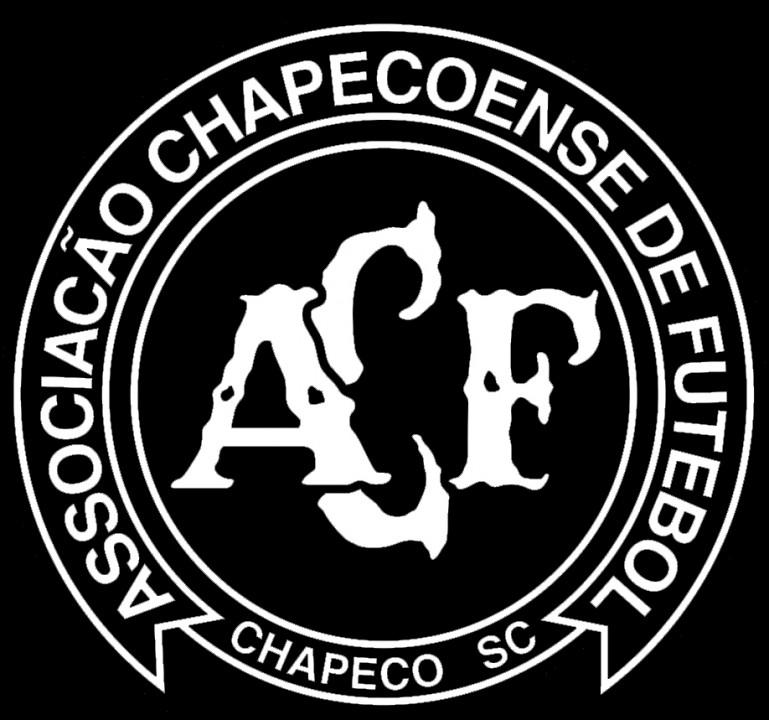 Logo da Chapecoense na cor preta, demonstrando o luto